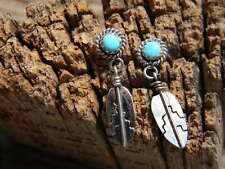 "Sterling silver Navajo ladies earrings turquoise 1"" long hanging feather"