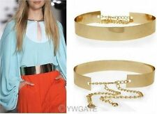 Women Gold Metallic Bling Mirror Plate Wide Waist Full Metal Chain Skinny Belt