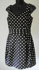 New Look - Navy/White Cotton Polka Dot Short Sleeveless Dress ~ size 10