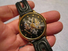 RARE! VINTAGE RUSSIAN MEN'S GOLD CREST QUARTZ WATCH-BLACK FACE-ABSOLUTE MINT