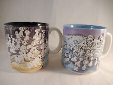 2 Disney 101 Dalmatians Coffee Mugs Cruella de Ville Black Blue