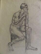 M. KREKELER -Kohle-Zeichnung AKT um 1918: NACKTER JUNGER MANN SITZEND MIT STAB
