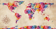 "World Map Modern Grunge Watercolor Abstract Art CANVAS PRINT 24""X18"" #3"