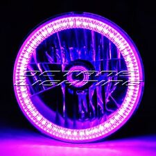 "7"" Purple SMD LED Halo Angel Eye H4 Halogen 60W Light Bulb Motorcycle Headlight"
