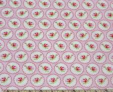 Free Spirit Tanya Whelan Valentine Rose Cameo Hearts Pink Fabric