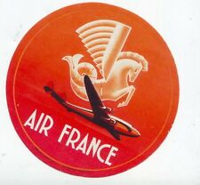 OLD LUGGAGE LABEL-ETICHETTA- AIR FRANCE AEROPLANE