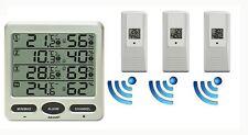 Funk Thermometer FT0073 mit 3 Aussensensoren Luftfeuchte LCD Display Min/max