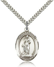 "Saint Barbara Medal For Men - .925 Sterling Silver Necklace On 24"" Chain - 30..."