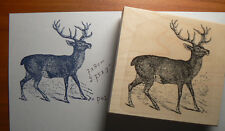 """Buck, Deer Rubber Stamp Wood Mounted, deep etched 2.5x2.25"""" P38"""