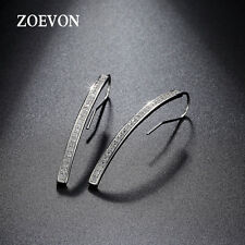 Women Elegant 925 Sterling Silver Long Dangle Ear Stud Crystal Earrings Jewelry
