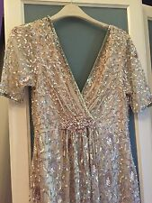 New Jenny Packham No 1 Collection Nude Pink Silver Sequin Harlow Gown Dress 6