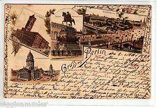 Gruss aus Berlin AK 1897 Lustgarten etc Mehrbild Litho Berlin 1508020*