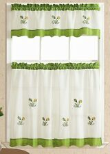BRIGHTER & SOFTER. 3pcs kitchen curtain / cafe curtain set. FRESH GREEN tulips