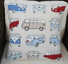 """VW CAMPER VAN CUSHION COVER RED AND BLUE 16 X 16"""" 100% COTTON"""