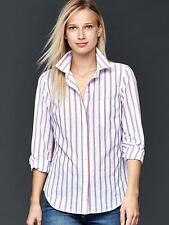 NWT GAP Womens Boyfriend Linen Blouse Top Shirt Stripe Red White Blue XS S M $54