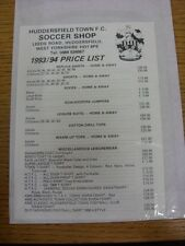 1993/1994 Huddersfield Town: Official Shopping List - Souvenir Shop Price List.