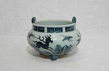 Chinese  Blue and White  Tripod  Porcelain  Incense  Burner     M503