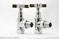 VICTORIAN TRADITIONAL X CROSS TOP CHROME TOWEL RAIL RADIATOR VALVES