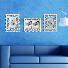 Juego De 3 pared decoración de la Sala extraíble Reutilizable Photo Frame pegatinas Blanco Sello Reino Unido