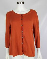J Jill Womens Size Medium Large Dark Orange 3/4 Sleeve Cardigan Cami Twin Set