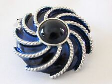 Blue Enamel Cabochon Silver Tone Swirl Pin Brooch Dress Clip