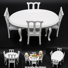 1:12 Miniature White Wooden Dining Table Chair Kitchen Furniture Dollhouse Gift