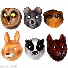 6x PLASTIC WOODLAND ANIMAL MASK Childrens Party Fancy Dress Up Wild Life Cosplay