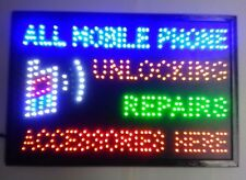 "LED SIGN BOARD ""ALL MOBILE PHONE UNLOCKING REPAIRS ACCESSORIES HERE"""