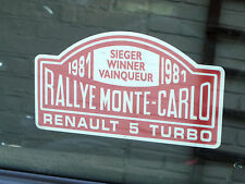 "Renault 5 Turbo Rally de Monte Carlo Winner 1981 ventana calcomanía 5 ""Clásico Race Car"