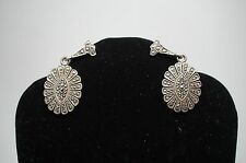 Unique Antique Pair Sterling Silver Marcasite Ovular Earrings Screw In Estate