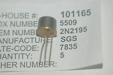 SGS 2N2195 Bipolar Junction Transistor NPN Type TO-5 New Lot Quantity-2