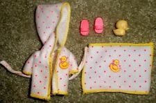 BARBIE DOLL CLOTHES SHOES - KELLY BATHROBE, TOWEL & SLIPPERS