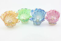K.Heaton signed Neo Art Glass Oyster shells paperweights Pink, Gold, Green, Blue