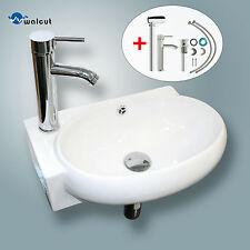 Ceramic Bathroom Vessel Sink Wall Mount Faucet on Left Chrome No Need Bracket