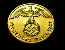 24 carat GOLD PLATED Nazi German 1 Reichspfennig Coin Higher Grade