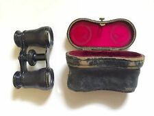 ANTIQUE VICTORIAN LE MARIE OPERA-GLASSES  SILK-LINED LEATHER BEE CASE 1880's