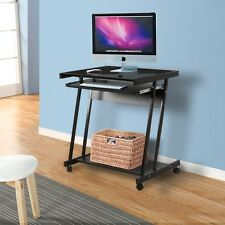 Computer Desk Laptop PC Table Workstation w/4 Wheels Roll Home Office Furniture