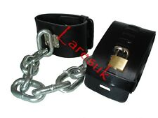 Locking faux leather Heavy chained ANKLE CUFFS x-lg CU-12-BLA, FREE UK DELIVERY