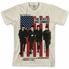 New Officially Licensed The Beatles Are Coming Uk To America Adult Shirt S