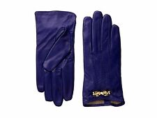 Ted Baker Blue Leather Gloves ~ Gold Tone Bow Detail ~ Women's Sz M / L ~ $135