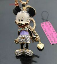 Cute NWT Betsey Johnson Necklace Purple Mickey Mouse Legs Move