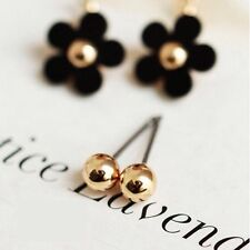 Cute Double Sided Gold Ball And Black Daisy Stud Earrings *UK SELLER* UJ007
