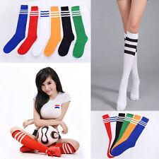 Stripe Soccer Football Running Knee High Tube Socks Sports For Men Ladies Women