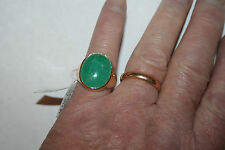 New 14K Yellow Gold With A Massive 14.11ct .Emerald mens Ring
