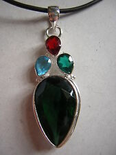 """Grande émeraude cristal de quartz 925 sterling argent collier pendentif 18"""" -20"""""""