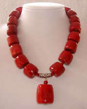 "Amazing Red Cylinder Coral Gemstone Necklace 18"" AAA"