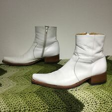 SENDRA 5200 handmade white leather cowboy/riding boots . Made In Spain . 43 9.5