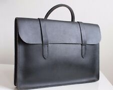 VINTAGE 1950's CHOSSY SHEET MUSIC BAG Black Leather Laptop Document Briefcase