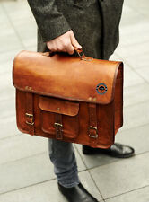Large Mens Genuine Vintage Brown Leather Messenger Bag Shoulder Laptop Briefcase