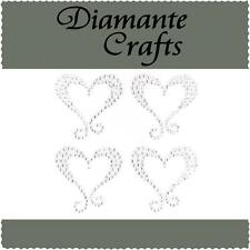 4 Clear Diamante Hearts with Swirls Self Adhesive Rhinestone Craft Embellishment